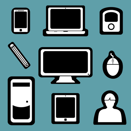 Set of flat design icon social devices  Vector