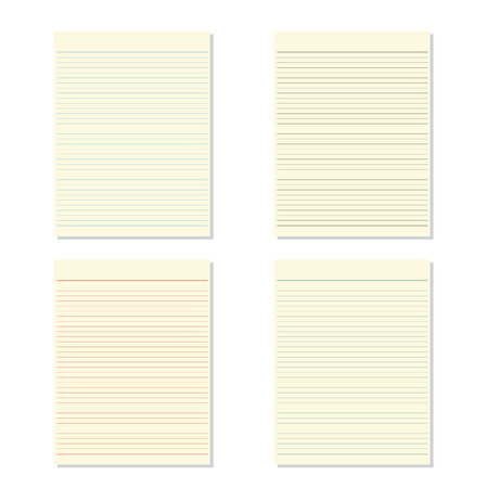 ruled: Set 4 color of blank notebook paper on white background