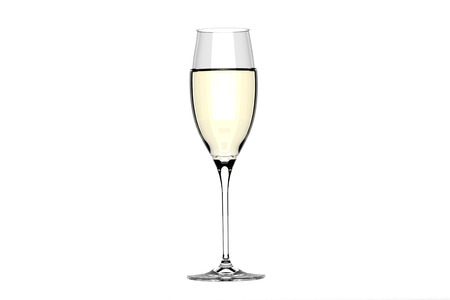 White wine in glass. Isolated on white background photo