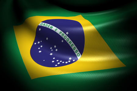 Flag of Brazil in the dark with brightness spot photo