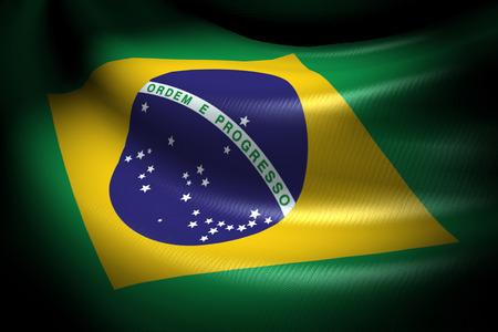 Flag of Brazil in the dark with brightness spot Stock Photo