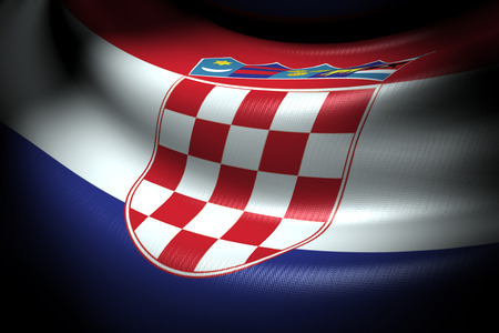 Flag of Croatia in the dark with brightness spot photo