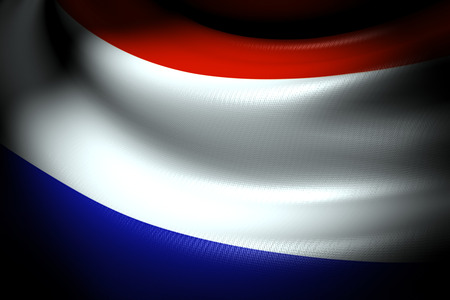 Flag of Netherlands in the dark with brightness spot photo