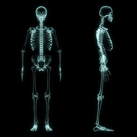 X-ray full body of skeleton in brightness blue with black background Imagens
