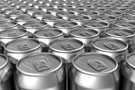 Aligned silver soda cans filling frame photo