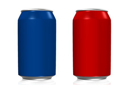 Blauwe en rode soda blikjes met reflectie op witte achtergrond Stockfoto