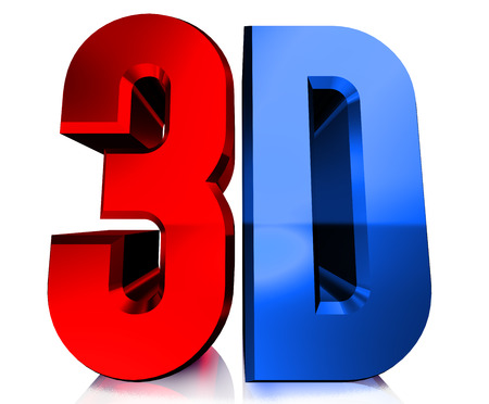 3d text: Shiny 3D with reflection on white background