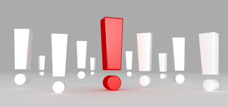 point of interest: Red exclamation mark standing out from white exclamation marks