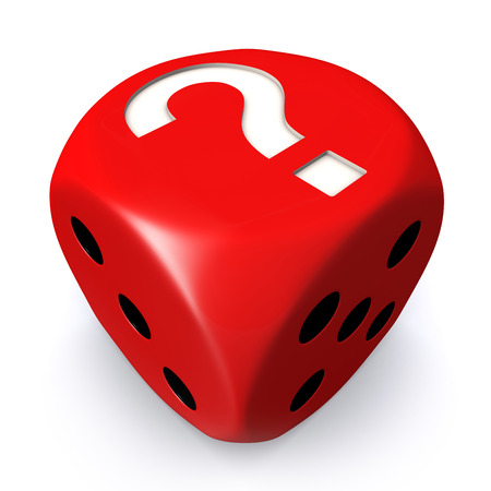 Red question mark dice on white background photo
