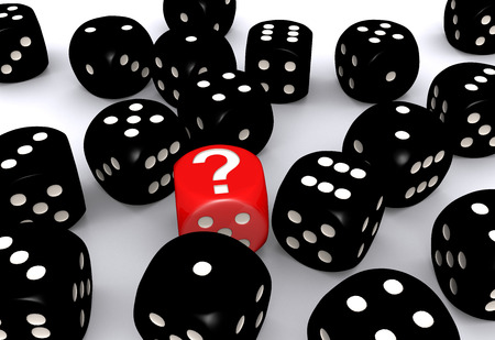 Red question mark dice standing out from black dices on white background photo