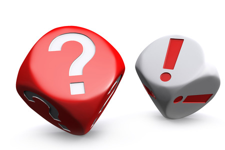 Red question mark dice and white exclamation mark dice on white background photo