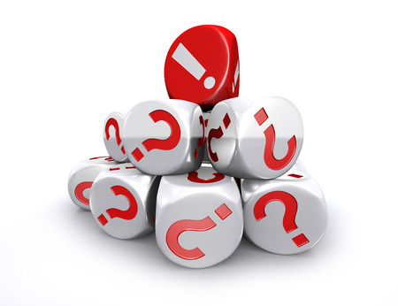 Red exclamation mark dice on top of white question mark dices stack on white background photo