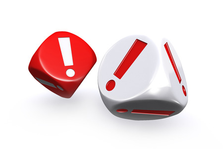 Red and white exclamation mark dices on white background photo