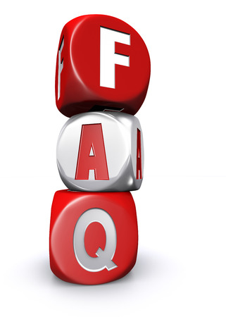 Red and white frequently asked questions dices on white background