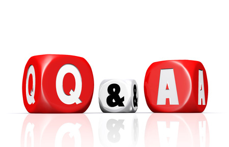 Red and white questions and answers dices with reflection on white background