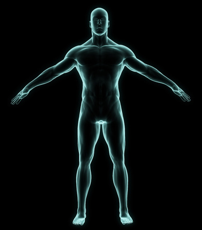 male body: X-ray human full body in brightness blue on black background
