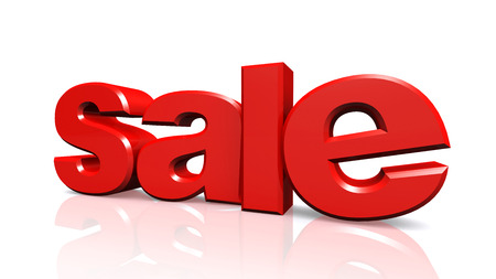 3D red text sale on white background with reflection photo