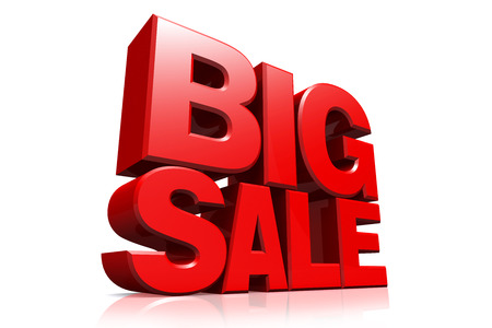 3D red text big sale on white background with reflection