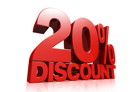 3D render red text 20 percent discount on white background with reflection photo