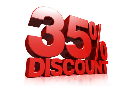 3D render red text 35 percent discount on white background with reflection