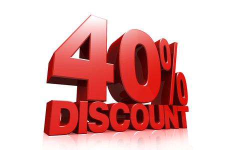 3D render red text 40 percent discount on white background with reflection photo
