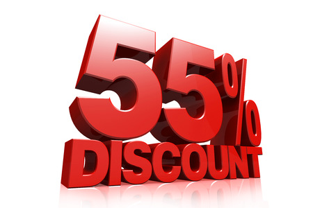 3D render red text 55 percent discount on white background with reflection photo