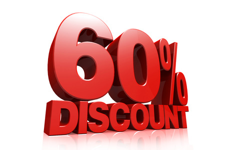 3D render red text 60 percent discount on white background with reflection
