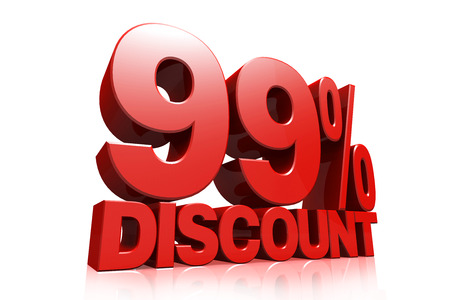 99: 3D render red text 99 percent discount on white background with reflection Stock Photo