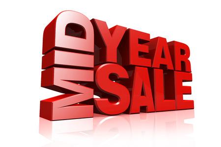 3D rode tekst midden van het jaar te koop op witte achtergrond met reflectie Stockfoto