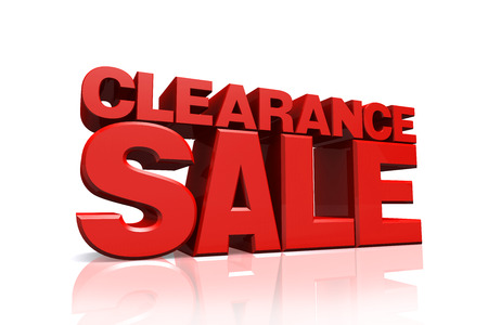 clearance sale: 3D red text clearance sale on white background with reflection