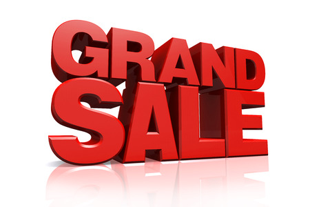 grand sale: 3D red text grand sale on white background with reflection Stock Photo