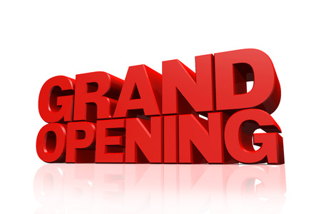 3D red text grand opening on white background with reflection