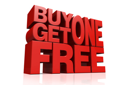 3D red text buy 1 get 1 free on white background with reflection photo