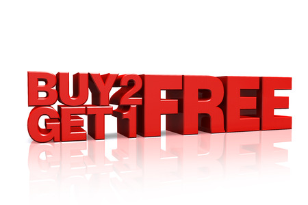 3D red text buy 2 get 1 free on white background with reflection
