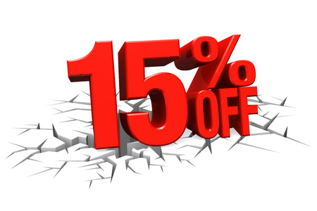 3D render red text 15 percent off on white crack hole background with reflection
