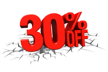 3D render red text 30 percent off on white crack hole background with reflection