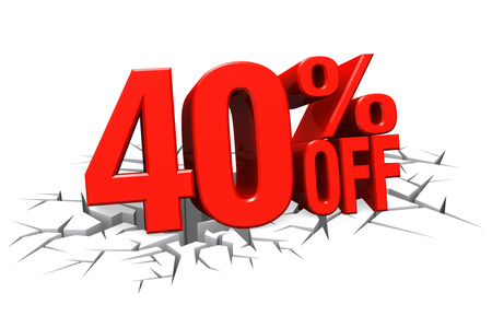 3D render red text 40 percent off on white crack hole background with reflection