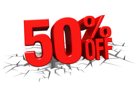 3D render red text 50 percent off on white crack hole background with reflection