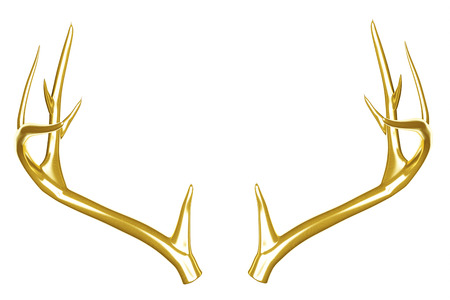 Golden deer antlers isolated on white background