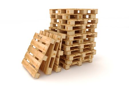 Stack of wooden pallets  Isolated on white background  Banco de Imagens
