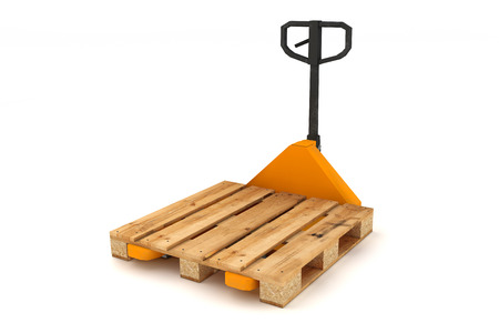 euro pallet: Hand forklift with wooden pallets isolated on white background