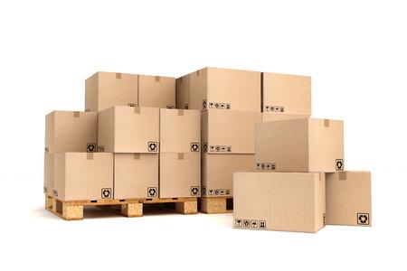 Kartonnen dozen op pallets Cargo, de levering en het transport logistiek opslag