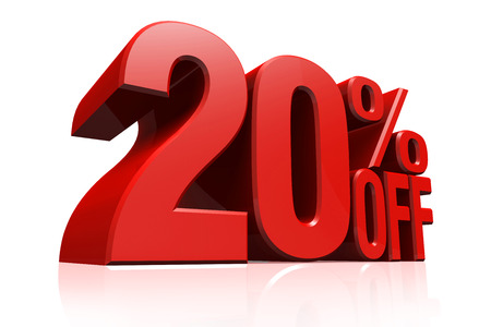 3D render red text 20 percent off on white background with reflection