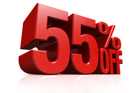 3D render red text 55 percent off on white background with reflection  photo