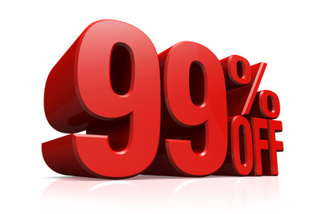 99: 3D render red text 99 percent off on white background with reflection  Stock Photo