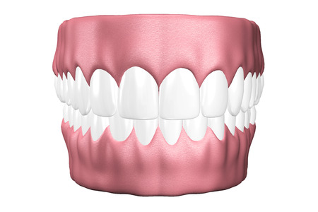 3D teeth close up on white background  Archivio Fotografico