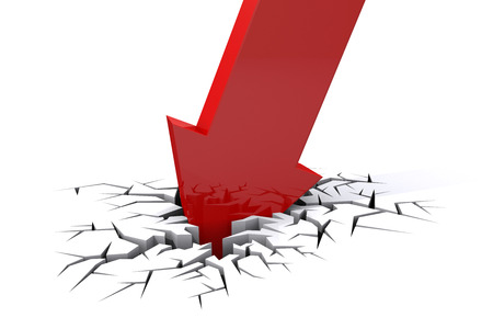 Economic Crisis. 3d red arrow breaking in crack hole. Business fall.