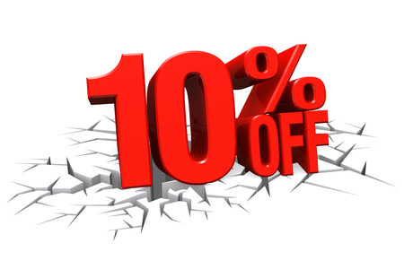 3D render red text 10 percent off on white crack hole background with reflection. Фото со стока