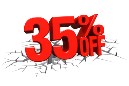 3D render red text 35 percent off on white crack hole background with reflection.