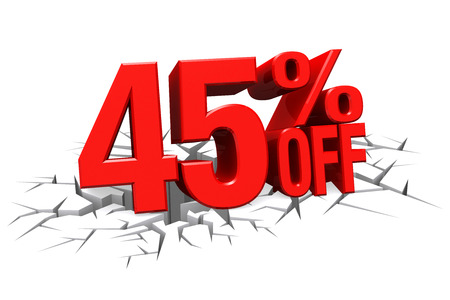 3D render red text 45 percent off on white crack hole background with reflection. photo